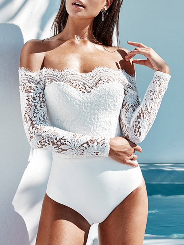 Lace Split-joint Off-the-shoulder Rompers Bodysuit