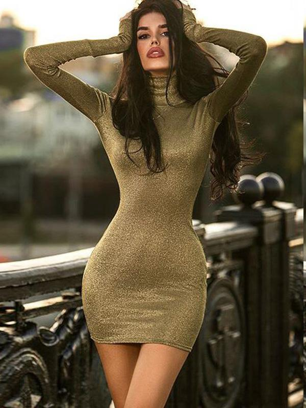 Green Long Sleeves V-neck Mini Dress