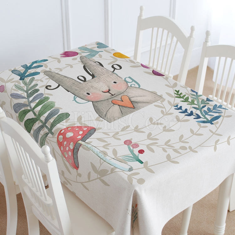Rabbit And Leaves Casual Printed Tablecloth