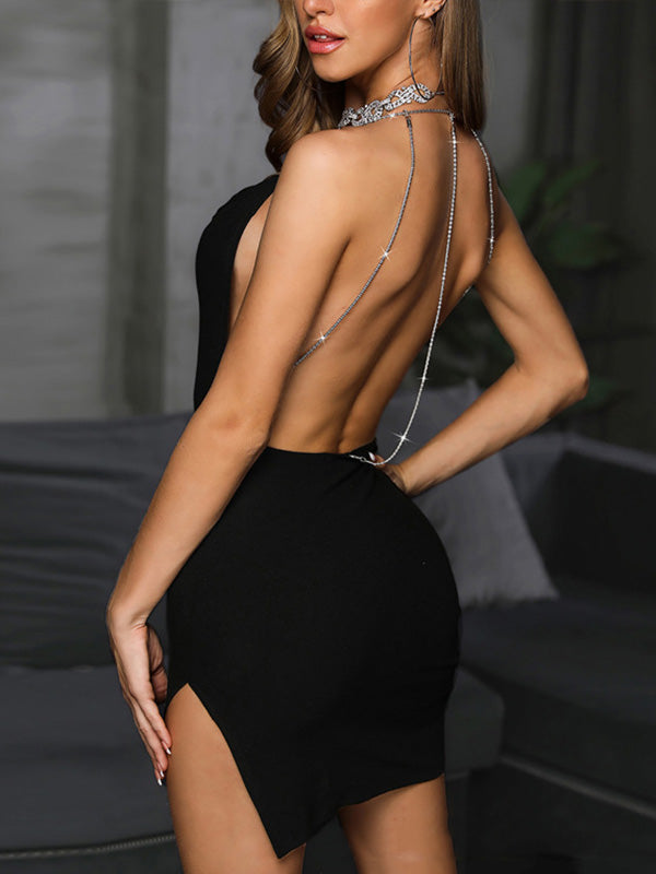 Studded Chain Open Back Slit Party Mini Dress