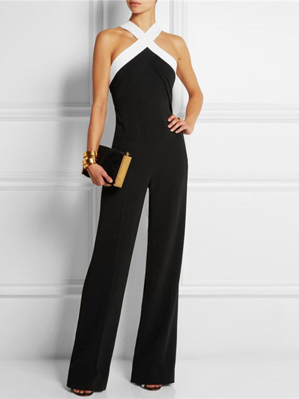 Fashion Backless Contrast Color Jumpsuits