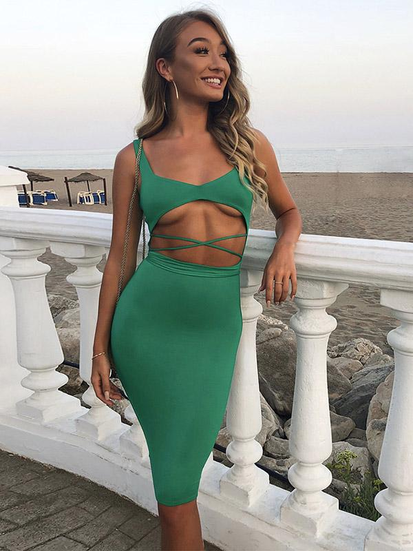 3 Colors Bandage Bodycon Midi Dress