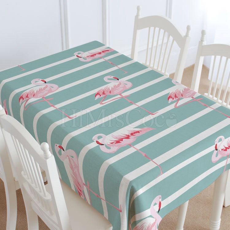 Striped Red-crowned Crane Printed Tablecloth