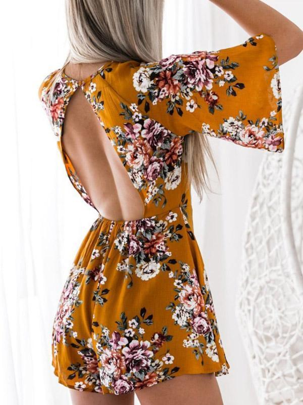 Printed Backless Bohemia Romper Bottoms