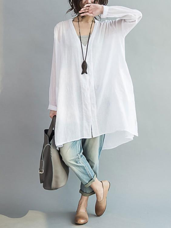 Comfortable button V-neck Two-pieces Blouses Shirt