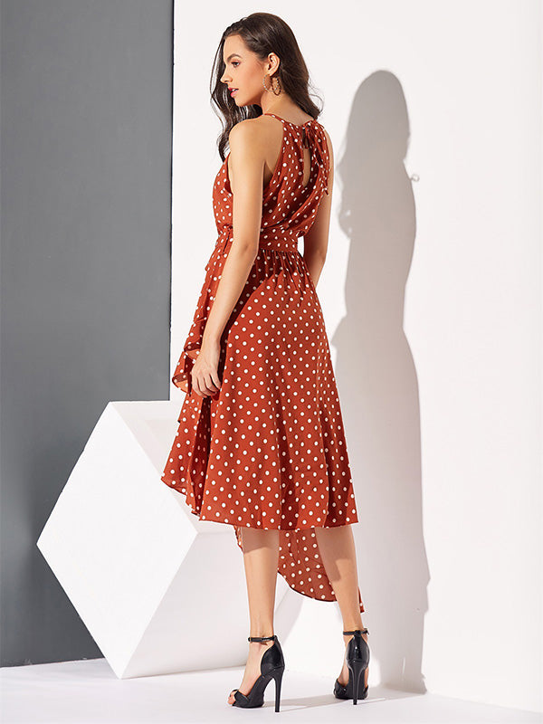 Polka-Dot  Printed  Irregular Hem  Sleeveless Midi Dress
