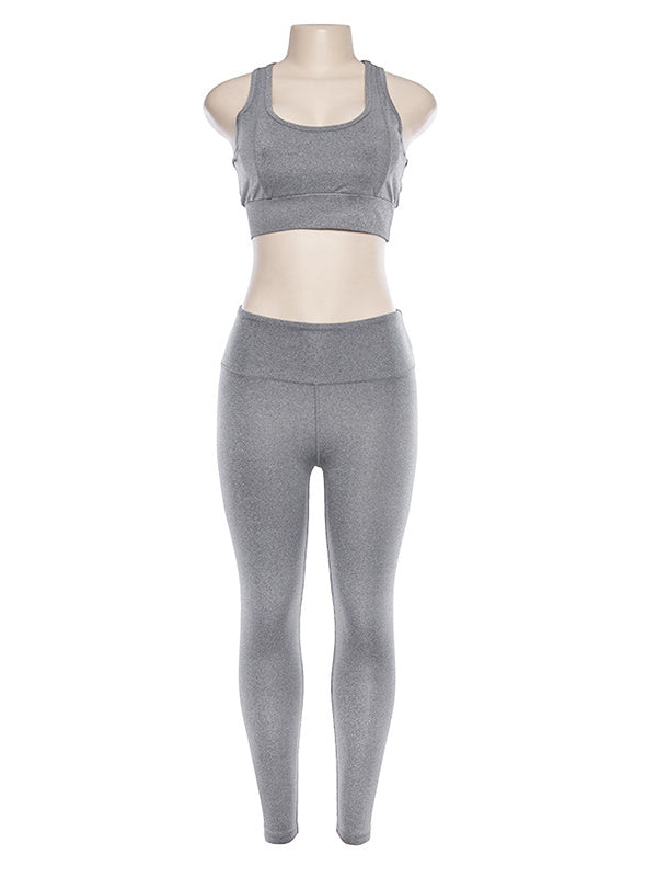 Solid Racerback Tanks And Leggings Yoga Suits