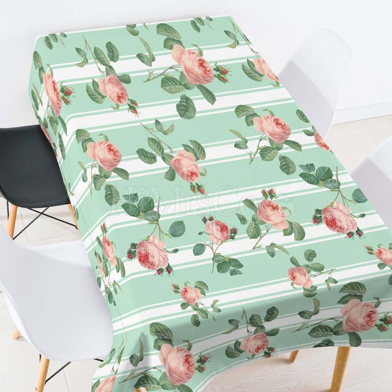 Plants Rose Casual Printed Tablecloth