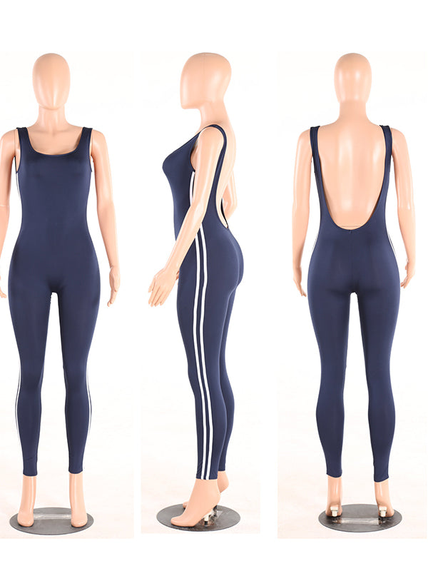 Striped Backless Athletic Jumpsuits