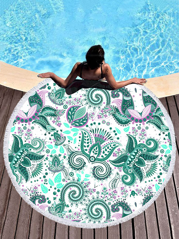Green Chic Printed Round Beach Mats