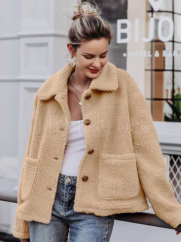Solid Faux fur Lapel Outwears