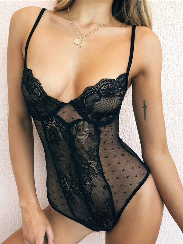 Sexy V-neck Lace Hollow Spaghetti Strap Bodysuit