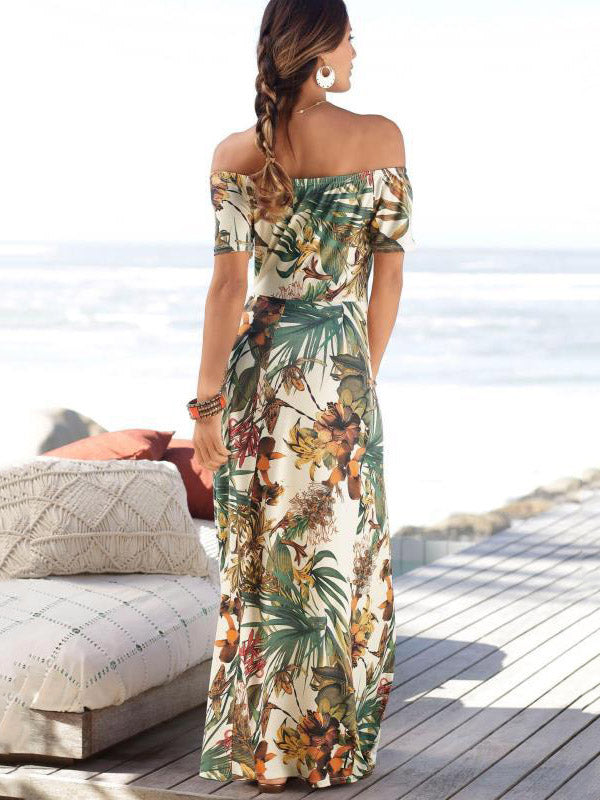 Off-neck Print Split-side Maxi Dress