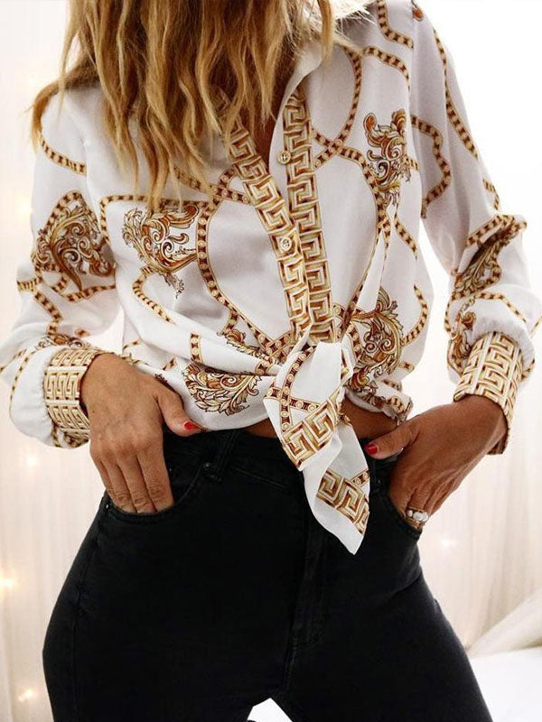 Fashion Long Sleeves Printed Blouses&shirts Tops