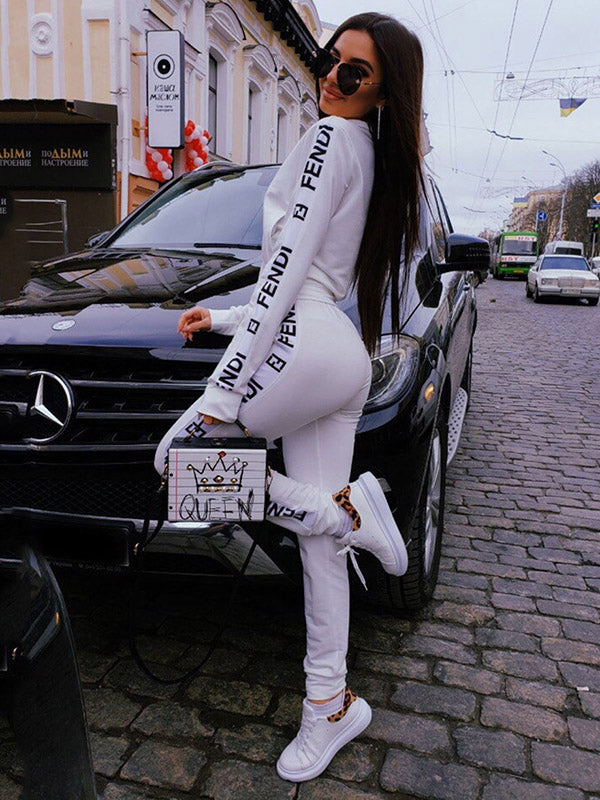 Letter Printed Long Sleeve Jacket And Pants Suits