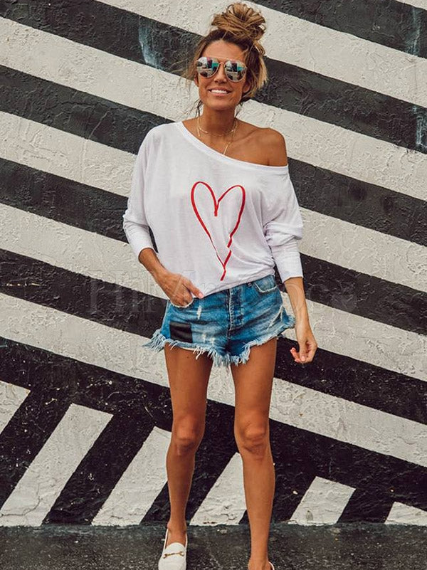 Skew Shoulder Loving Heart Printed T-shirt