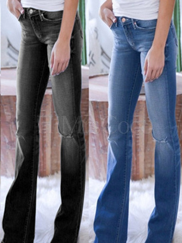 Slim-fit Hole Jean Pants
