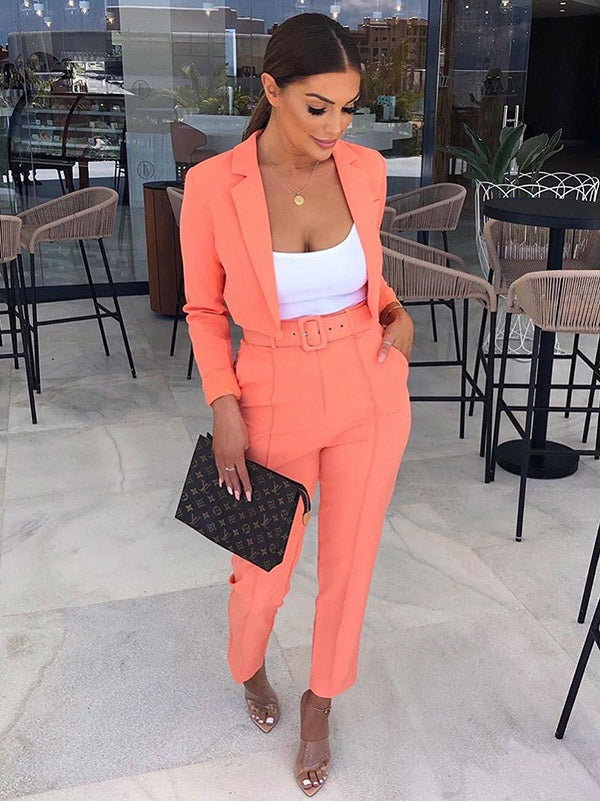 Simple Short Outerwear Tops And Trousers Two-piece Suits