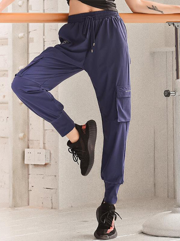 Solid Drawstring Casual Overall Pants