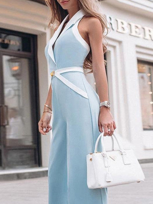 Halterneck Belted Spaghetti Neck Long Jumpsuit