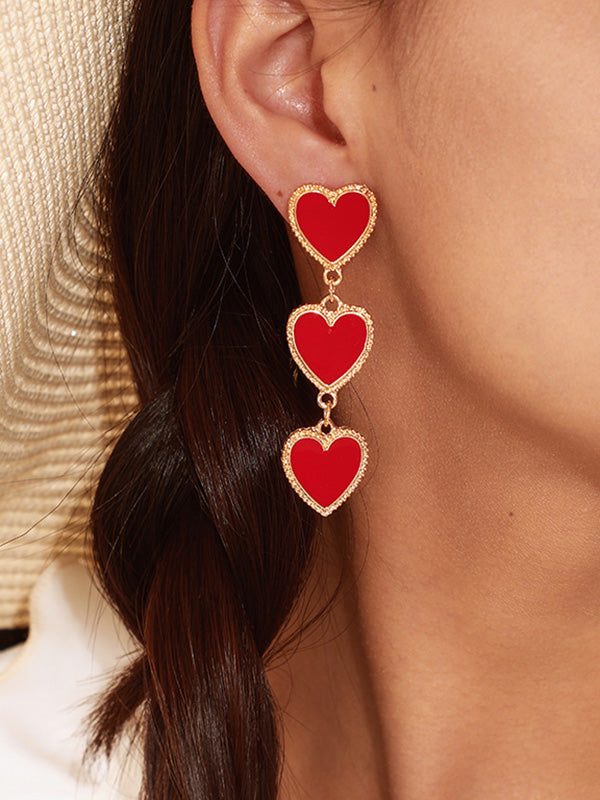 Fringed Heart Shaped Drop Earrings Accessories