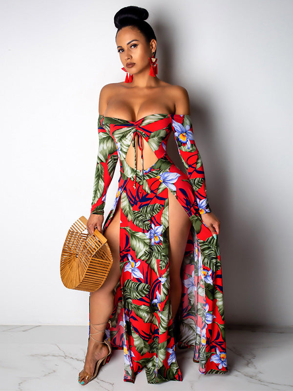 Fashion Printed Hollow 5 Colors Maxi Dress