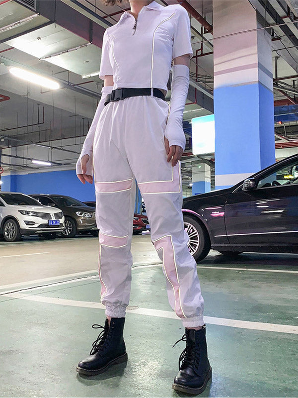 Belted Two Tone Casual Cargo Pants
