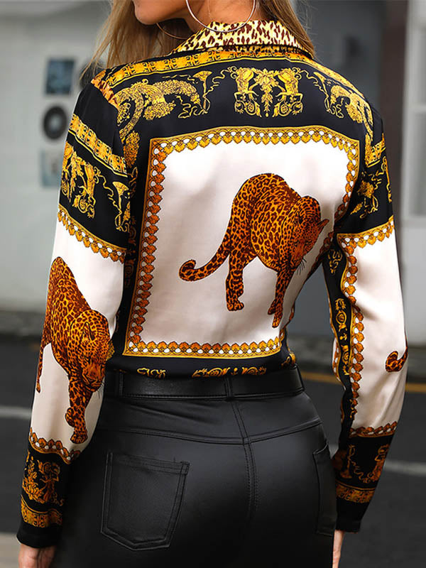 Printed Deep V-neck Long Sleeve Bodysuit