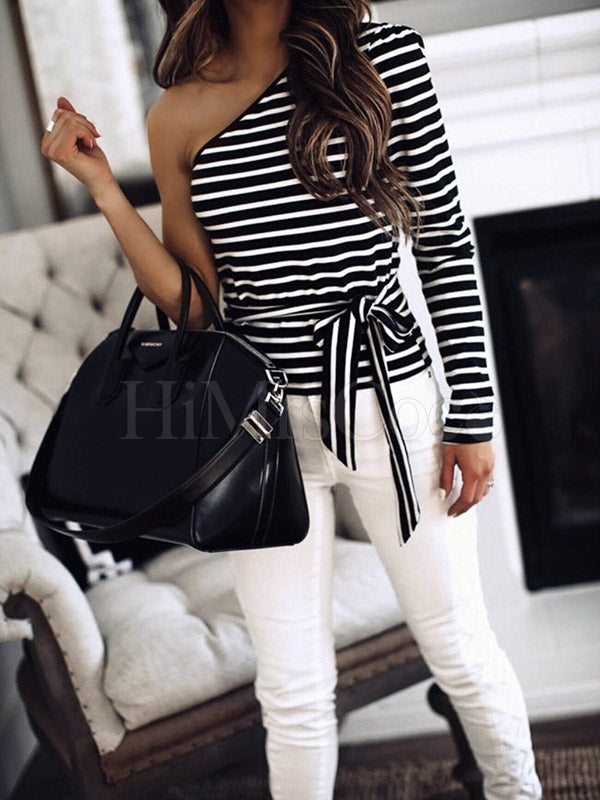One-shoulder Striped Bandage T-shirt