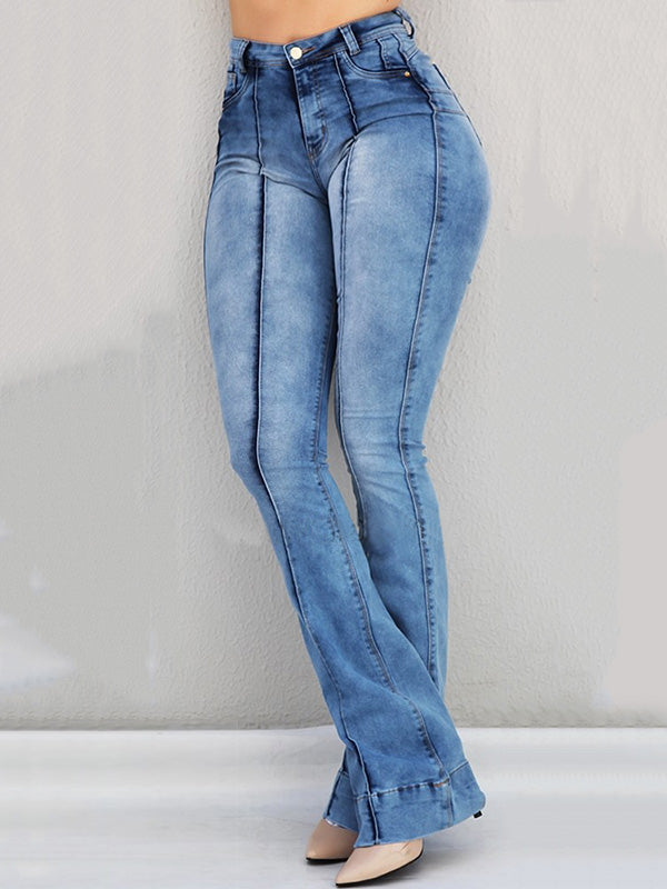 Solid High Waist Bell-Bottom Jeans