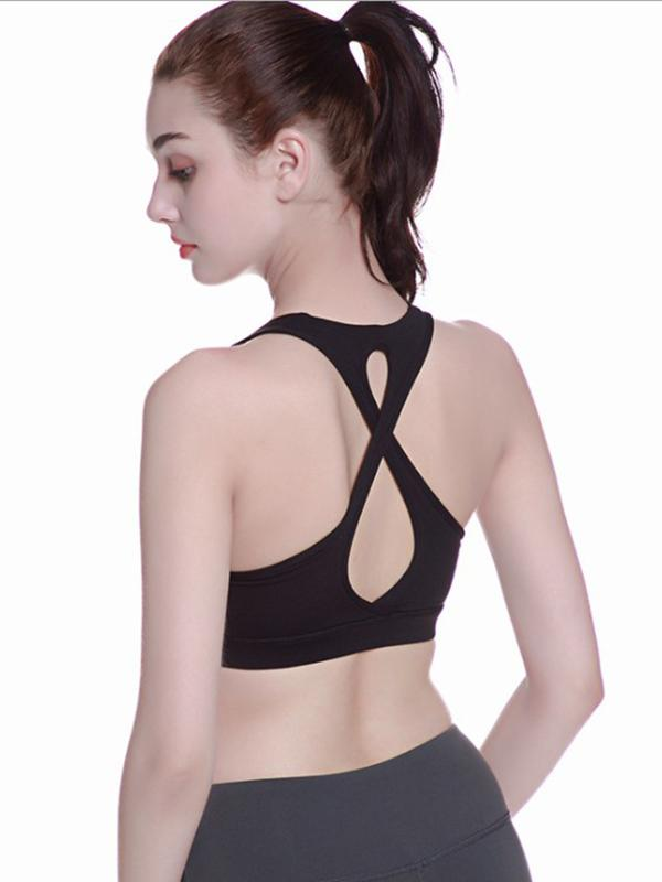 Cross-strap Solid Sports Yoga Top