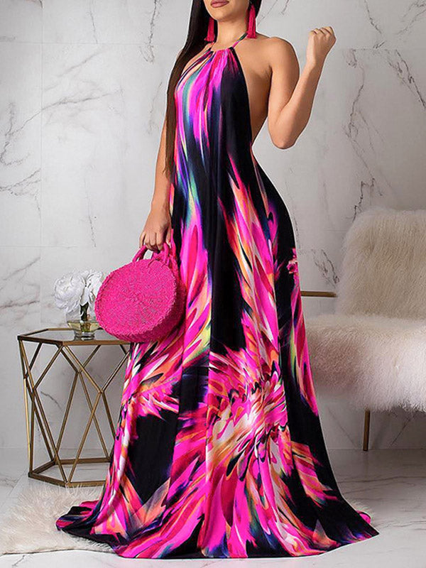 Backless Printed Sexy 2 Colors Maxi Dress