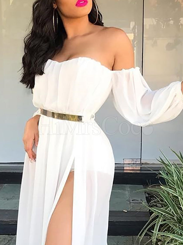 Off-the-shoulder Without Belt White Long Sleeve Maxi Dress