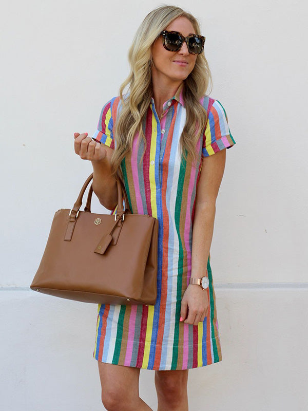 Striped Lapel Mini Shirtdress