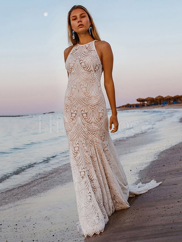 Lace Tailing Split-Joint Backless Maxi Dress