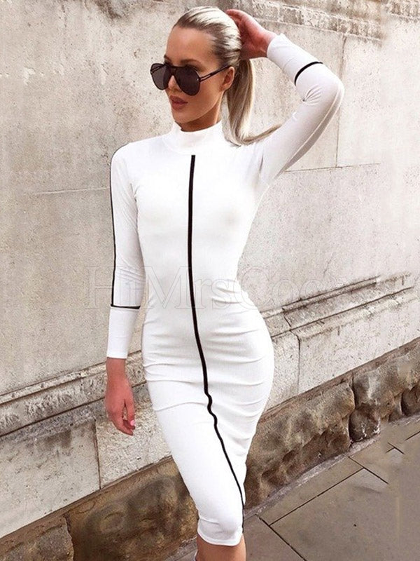 Solid Hip-package Midi Dress