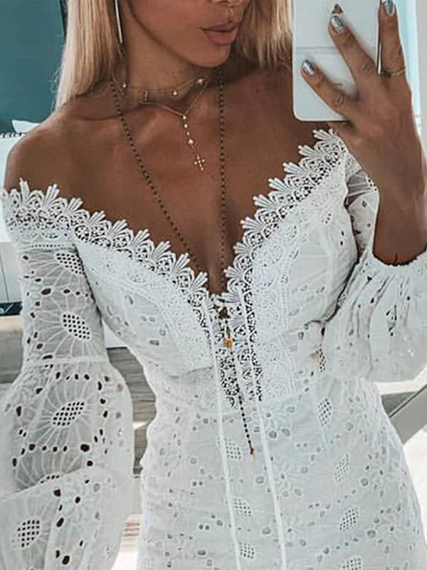 White Off-the-shoulder Mini Dress