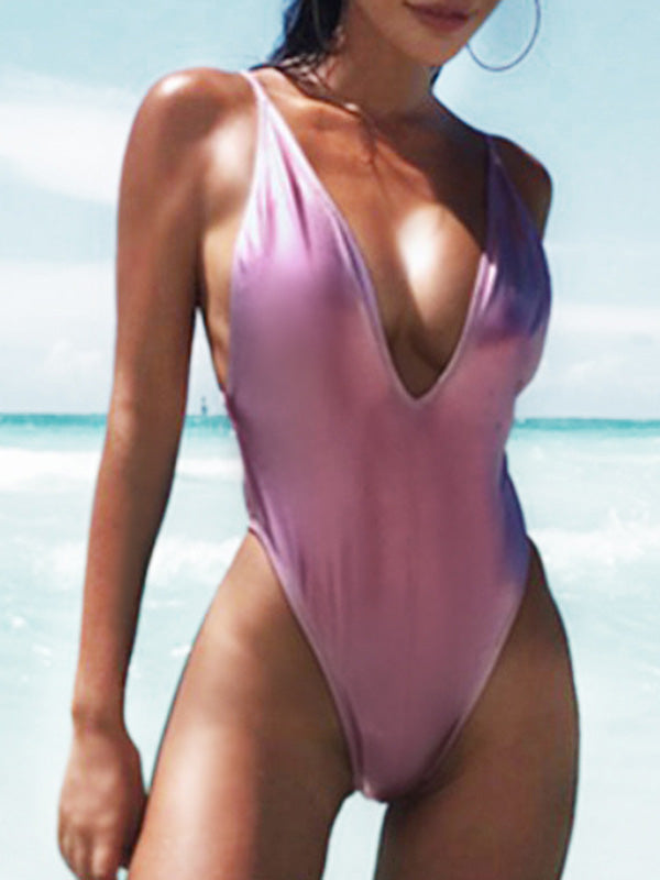 Sexy Plain Backless One-piece Swimsuit