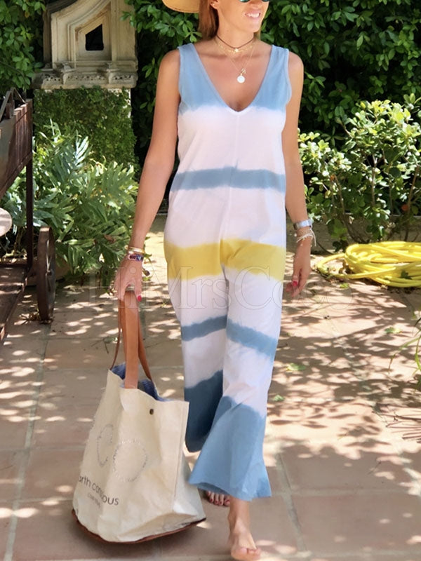 Loose Color-block Sleeveless Jumpsuits