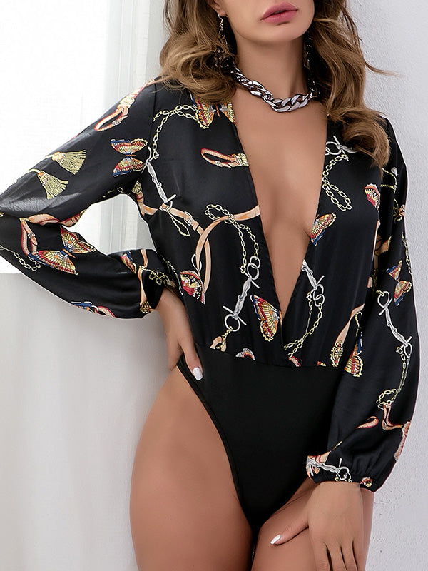 Printed Deep V-neck Long Sleeve Slim Bodysuit