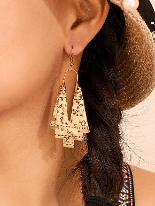 Moon Printed Alloy Geometry Earrings
