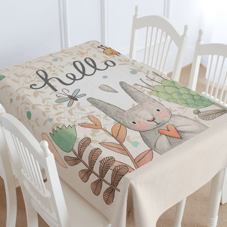 Hello Rabbit Casual Printed Tablecloth