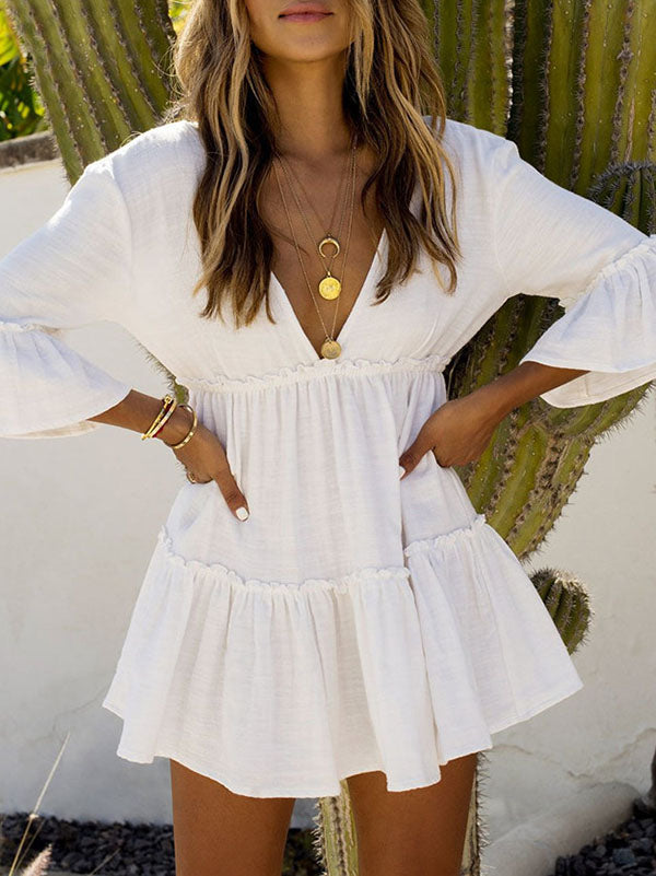 Ruffled Flared Sleeves V-neck Backless Mini Dress