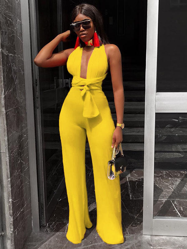 Fashion V-neck Bandage Wide Leg Jumpsuit