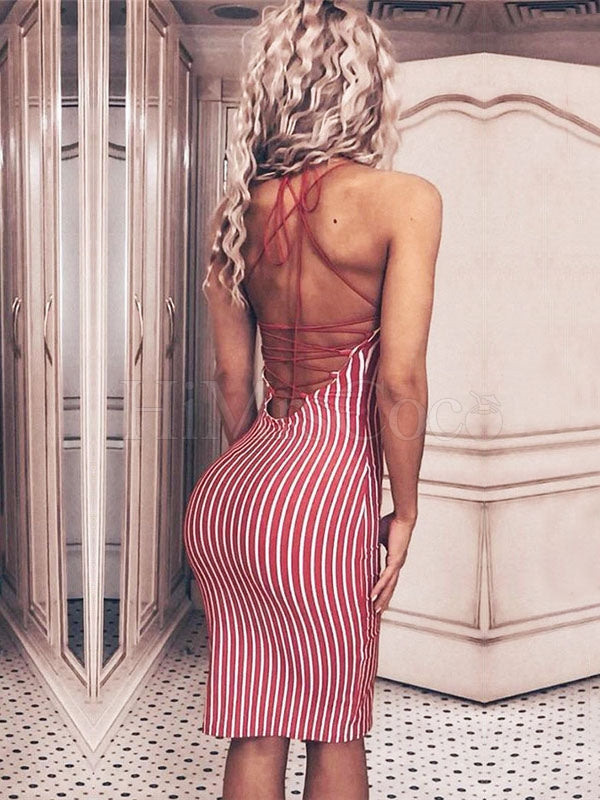 Striped Backless Halterneck Mini Dress