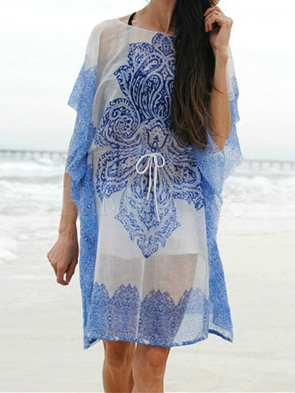 Floral Printed Bandage Bikini Cover-Up