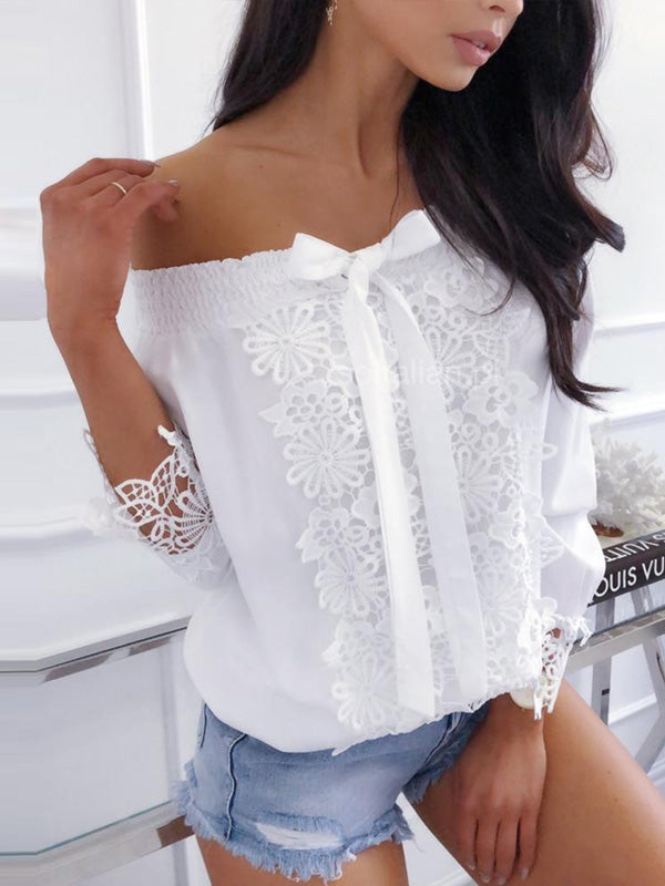 Off-the-shoulder Long Sleeves Blouses&shirts Tops
