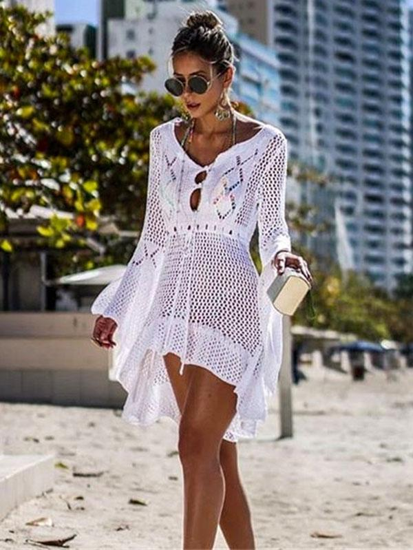 Flared Sleeves Crochet Swimwear Cover-ups