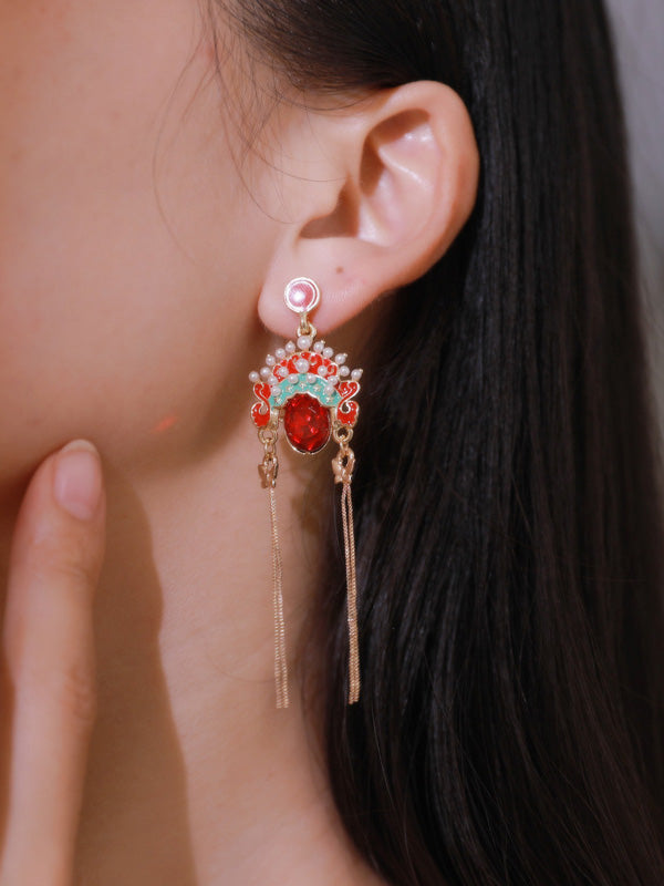 National Style Beijing Opera Tasselled Earrings