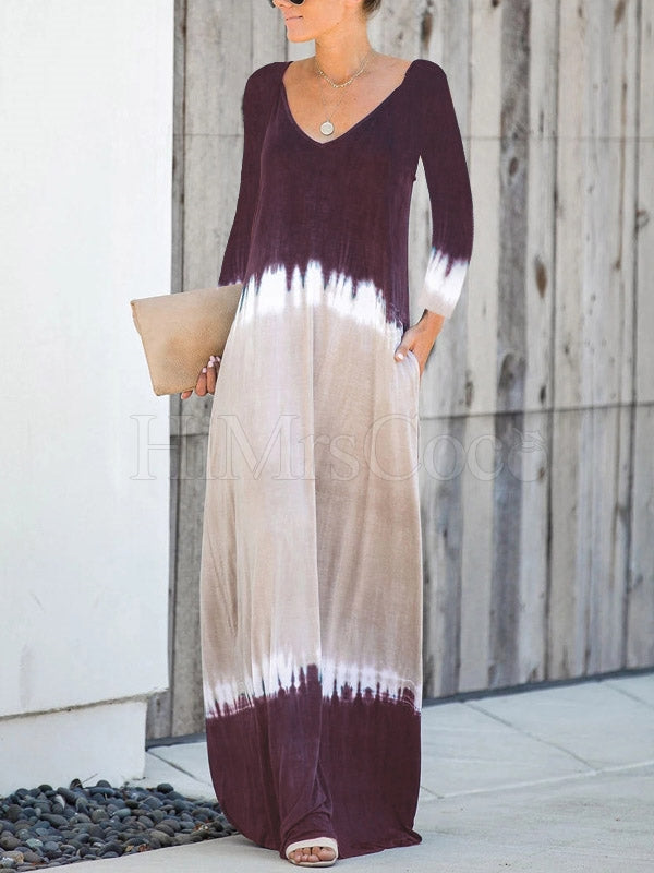 V-neck V-back Long Sleeves Maxi Dress